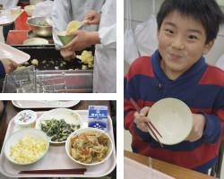 桜めしが長岡市の小学校の給食に